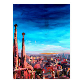 Barcelona City View And Sagrada Familia Postcard
