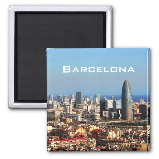 Barcelona cityscape 2 inch square magnet  Zazzle