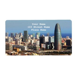Barcelona cityscape label