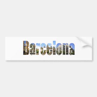 Barcelona con las atracciones turísticas en letras pegatina de parachoque