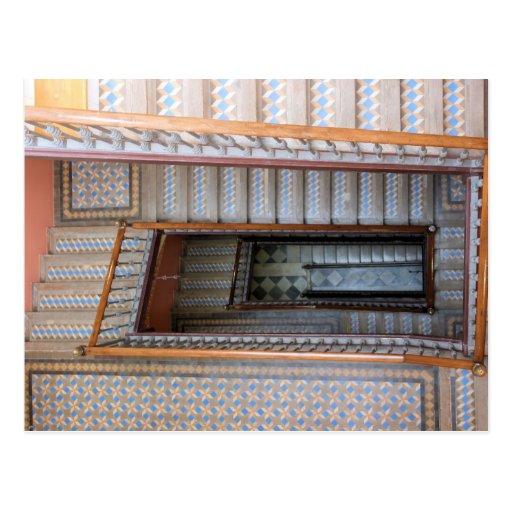 Barcelona, España - postal de la escalera de la te