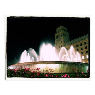 Barcelona Fountain - Placa de Catalunya - Postcard