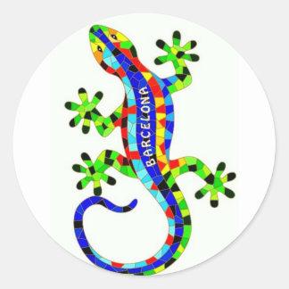 Barcelona lizard classic round sticker