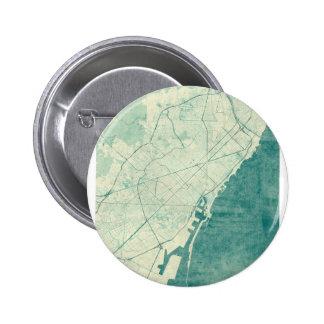 Barcelona Map Blue Vintage Watercolor Button