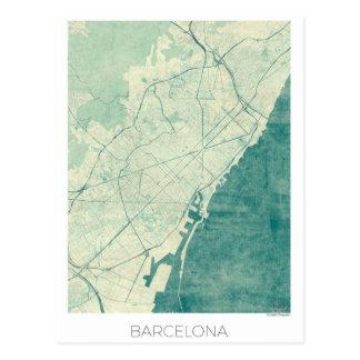 Barcelona Map Blue Vintage Watercolor Postcard