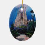 Barcelona Sagrada Familia con el parque y la Adorno Navideño Ovalado De Cerámica