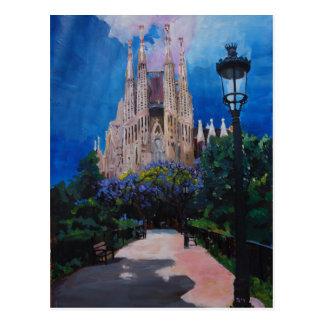 Barcelona Sagrada Familia con el parque y la Tarjetas Postales