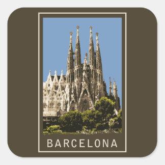 Barcelona Sagrada Familia Pegatina Cuadrada