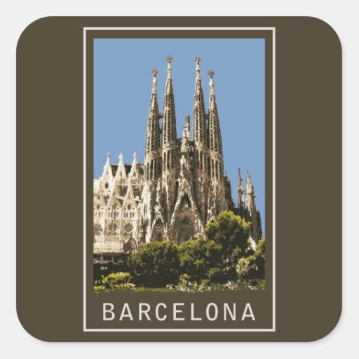 Barcelona Sagrada Familia Square Sticker  Zazzle