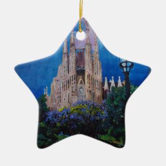 Barcelona Sagrada Familia with Park and Lantern Ceramic Ornament