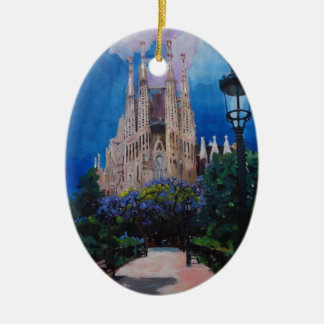 Barcelona Sagrada Familia with Park and Lantern Double-Sided Oval Ceramic Christmas Ornament