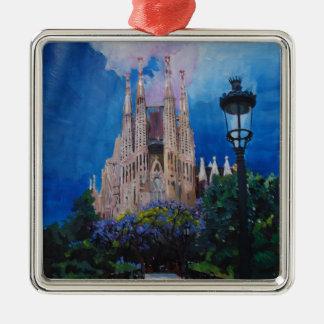Barcelona Sagrada Familia with Park and Lantern Metal Ornament