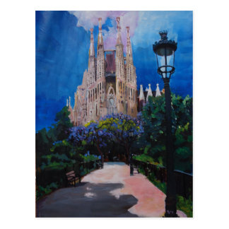 Barcelona Sagrada Familia with Park and Lantern Postcard