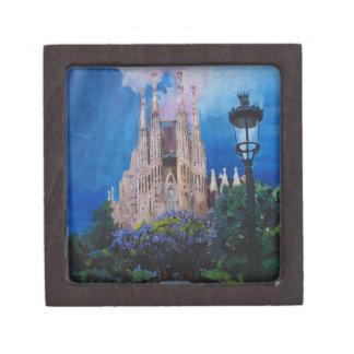 Barcelona Sagrada Familia with Park and Lantern Premium Keepsake Boxes