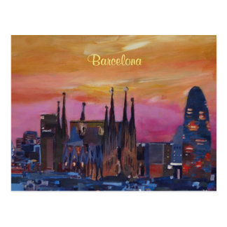 Barcelona Skyline and Torre Agbar, Sagrada Familia Postcard