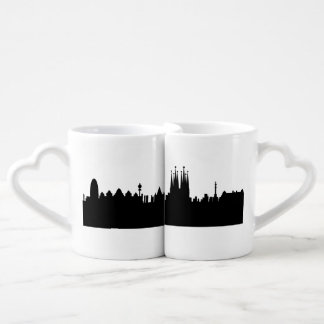 barcelona skyline couples' coffee mug set