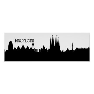 barcelona skyline deco poster