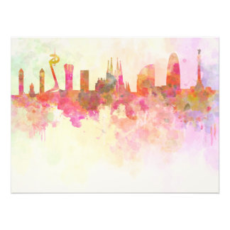 Barcelona skyline in watercolour background arte fotográfico