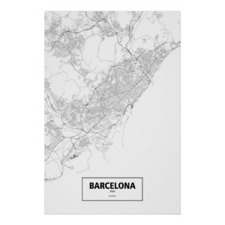 Barcelona, Spain (black on white) Poster