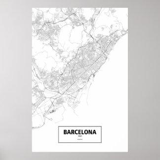 Barcelona, Spain (black on white) Print