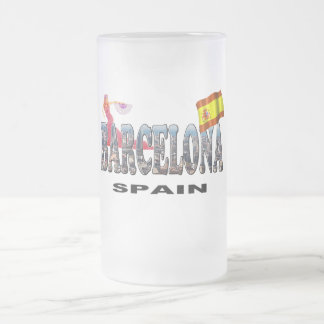 Barcelona Spain Frosted Glass Beer Mug