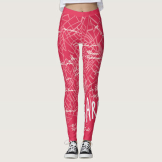 Barcelona Spain Leggings - Pink Vintage Style