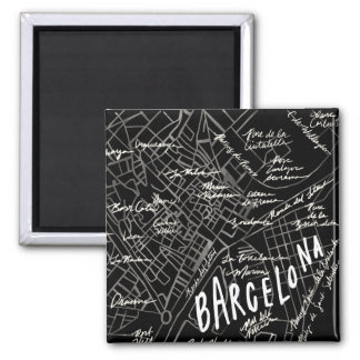 Barcelona Spain Map Magnet - Black Vintage Style