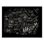 Barcelona Spain Map Poster - Black Vintage Style