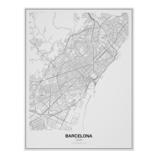 Barcelona, Spain Minimalist Map Poster (Style 2)