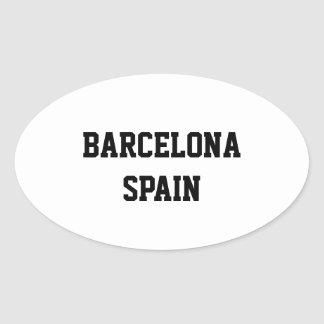Barcelona Spain oval stickers