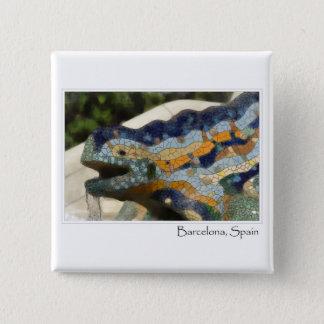 Barcelona Spain Parc Guell Mosaic Lizard Button