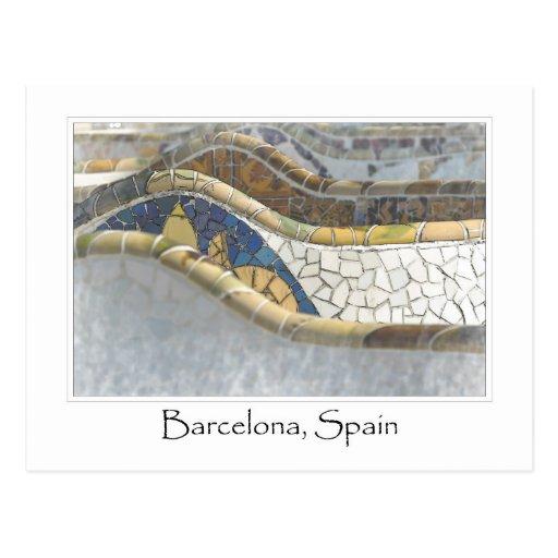 Barcelona Spain Parc Guell Tourist Destination Postcard