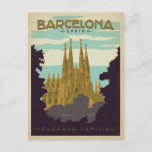 """Barcelona, Spain - Sagrada Familia Postcard<br><div class=""""desc"""">Anderson Design Group is an award-winning illustration and design firm in Nashville,  Tennessee. Founder Joel Anderson directs a team of talented artists to create original poster art that looks like classic vintage advertising prints from the 1920s to the 1960s.</div>"""