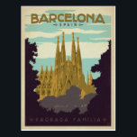 "Barcelona, Spain - Sagrada Familia Postcard<br><div class=""desc"">Anderson Design Group is an award-winning illustration and design firm in Nashville,  Tennessee. Founder Joel Anderson directs a team of talented artists to create original poster art that looks like classic vintage advertising prints from the 1920s to the 1960s.</div>"