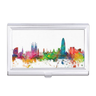 Barcelona Spain Skyline Business Card Holder