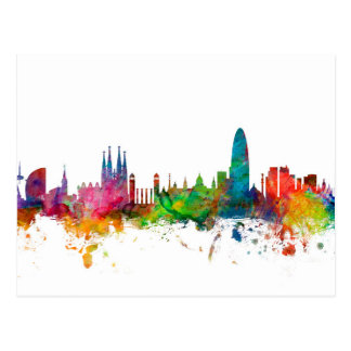 Barcelona Spain Skyline Postcard