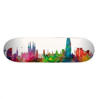 Barcelona Spain Skyline Skateboard