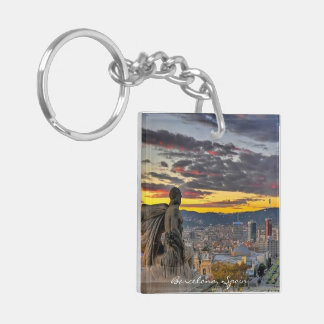 Barcelona, Spain - Square (double-sided) Keychain