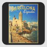 Barcelona Spain Vintage Travel Square Stickers