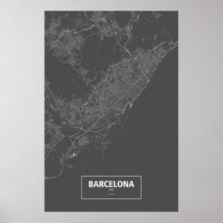 Barcelona, Spain (white on black) Posters
