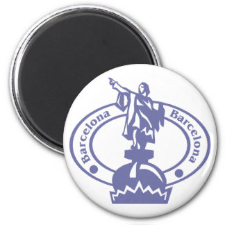 Barcelona Stamp 2 Inch Round Magnet