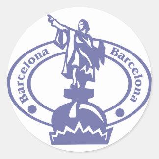 Barcelona Stamp Round Sticker
