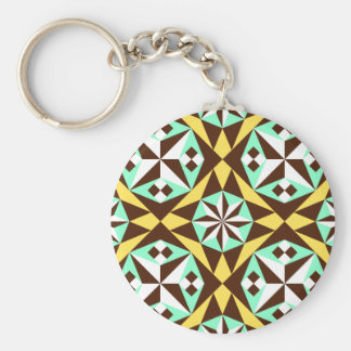 Barcelona tile pattern in yellow, brown and blue basic round button keychain