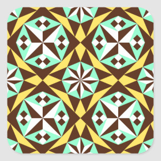 Barcelona tile pattern in yellow, brown and blue square stickers