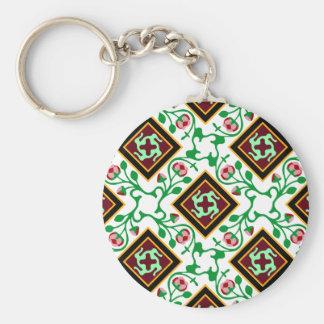 Barcelona tile red floral pattern keychain