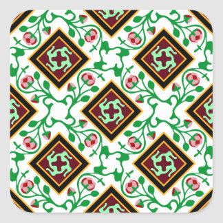 Barcelona tile red floral pattern stickers