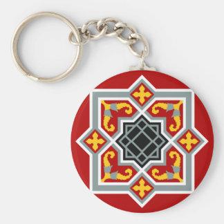 Barcelona tile red octagonal pattern basic round button keychain