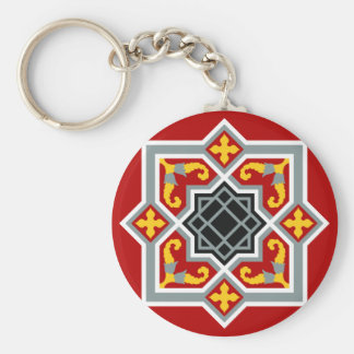 Barcelona tile red octagonal pattern keychain