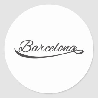 barcelona typographical classic round sticker