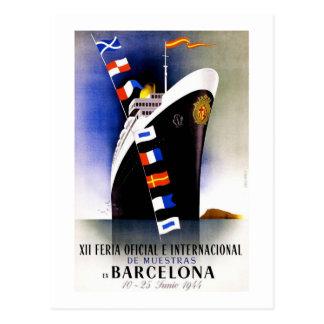 Barcelona Vintage Trade Fair Poster Postcard